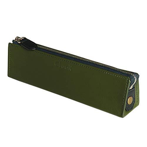 (シールアル) ペンケース 三角ペンケース 本革 革 ファスナー ふで箱 筆箱 バイカラー 全10色 CLuaR-PC (03.ロイヤルグリーン)