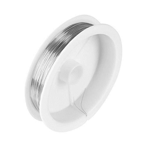 JPZCDK 5 Rollo de aleación Robusta Fabricación de Joyas Alambre DIY Collar Artesanal Gargantilla Rebordear Cuerda Cadena Accesorios para Herramientas, Plata, 0.3 mm