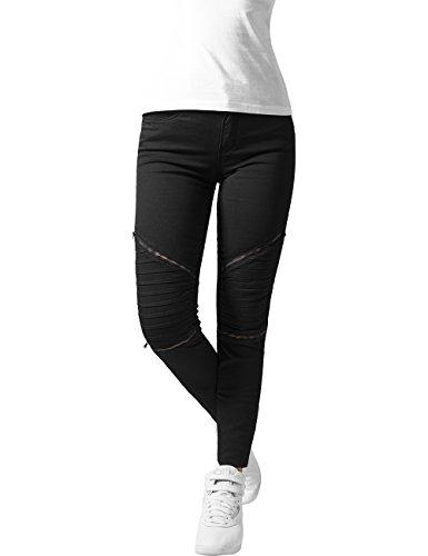Urban Classics Damen Ladies Stretch Biker Pants Hose, Schwarz (Black 7), W28