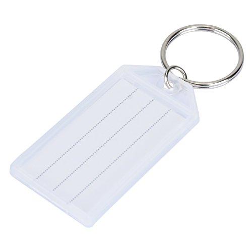 Uniclife 20er Pack Robust Kunststoff Schlüsselanhänger beschriftbar, Schlüsselanhänger zum Beschriften mit Split Ring Label Fenster, Weiß