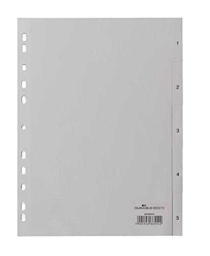 DURABLE Hunke & Jochheim Register, PP, 1-5, grau, DIN A4, volldeckend, 215/230 x 297 mm, 5 Blatt