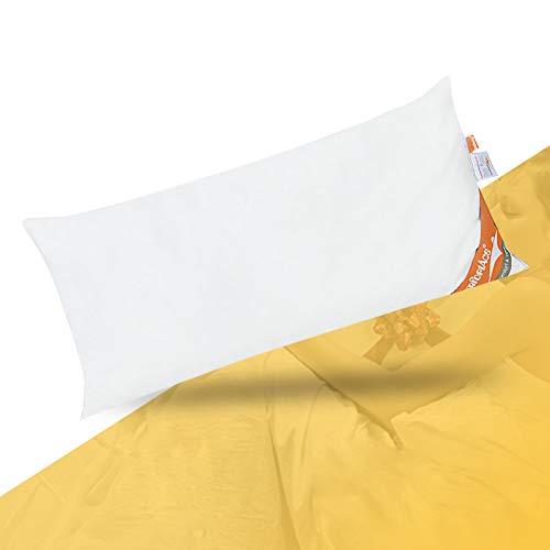 ComfortAce® Fournet 40x80cm Kopfkissen Kissen,Federkissen mit Bezug aus Baumwolle,Kissenfüllung weiße Entenferder,Anti-Milben Waschbar,Weiß MEHRWEG