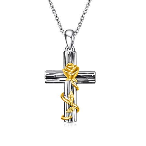 YFN Kreuz Halskette 925 Sterling Silber Gold Rose Anhänger Kreuz Halskette Frauen Mädchen