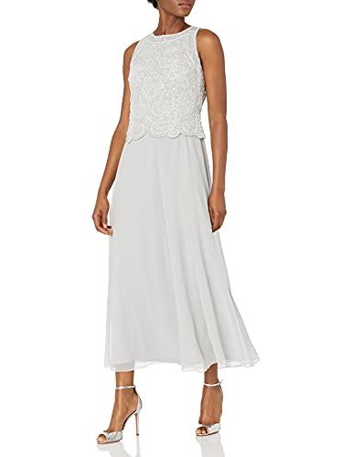 J Kara Women's Petite Beaded Sleeveless Long Dress with Scarf,...