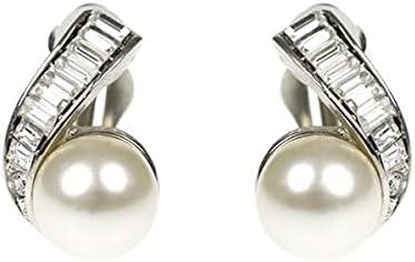 Kenneth Jay Lane Crystal & Cultura Pearl Ball Clip Earrings