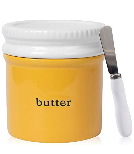 DiiKoo Porcelain Butter Keeper Original Butter Crock with Knife for Counter French Butter Dish with Lid Ceramic Butter ContainerFresh Spreadable