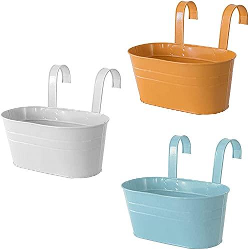 Eeayyygch MoreJieka - Fioriere da appendere in metallo, da giardino, da parete, per ringhiera, balcone, giardino, decorazione per la casa (colore: bianco+blu+arancione)