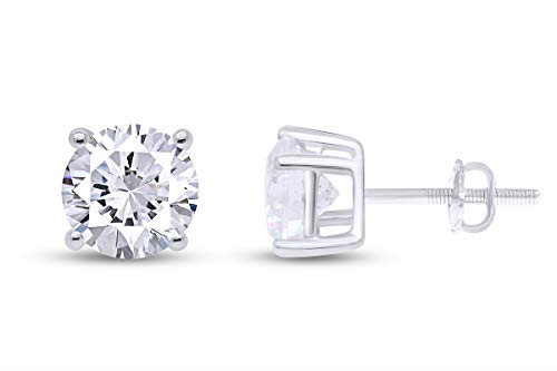 Certified 1/3 CT Round Lab Grown Diamond Solitaire Stud Earrings 10k Solid White Gold (I-J Color, VS-SI Clarity, 0.33 Cttw)