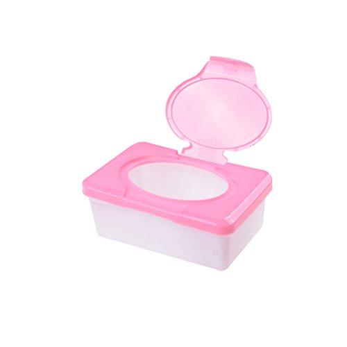 RUIYELE Caja de almacenamiento de toallitas húmedas secas para pañales, 1 unidad reutilizable para toallitas húmedas, para viajes, dispensador de toallitas húmedas, contenedor de papel de seda, rosa