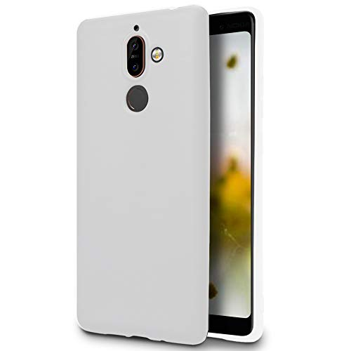 MyCase Funda móvil para Nokia 7 Plus | TPU| Blanco Bordes Protegidos | Anticaída