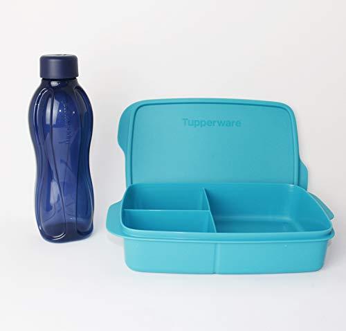 Clevere Pause TUPPERWARE Lunchbox 1L Türkis + EcoEasy Trinkflasche to go 500ml Dunkelblau Schraubverschluss + Kiwilöffel