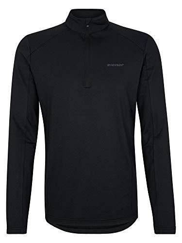 Ziener Herren PAULINO Skipullover, Skirolli, Funktions-Shirt | Langarm, Atmungsaktiv, Black.Melange, 52
