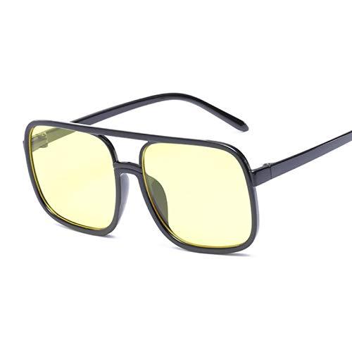 ShSnnwrl Gafas De Moda Gafas De Sol Gafas De Sol Cuadradas para Mujer con Montura Retro Gafas De Sol Mujer Vintage Hombre Negro Amarillo