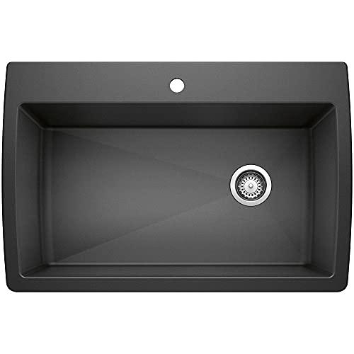 BLANCO, Anthracite 441094 DIAMOND SILGRANIT Super Single Drop-In or Undermount Kitchen Sink