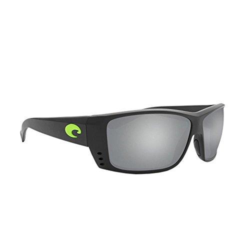 Costa Del Mar Men's Cat Cay Polarized Rectangular Sunglasses, Matte Black/Electric Green/Grey Silver Mirrored Polarized-580G, 61 mm