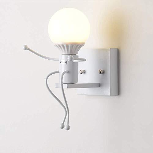 Nordic creatieve ijzeren kunst machine Little man wandlamp lamp persoonlijkheid metaal schommel wandlamp woonkamer kinderen slaapkamer bedlampje E27, D-B Wit-1-licht
