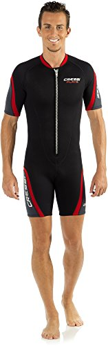 Cressi Playa Man Wetsuit 2.5 mm, Muta Shorty in Neoprene High Stretch Uomo, Nero/Rosso, XXL/6