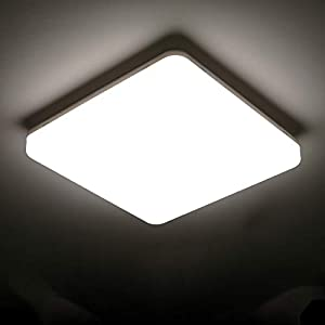 Tom-shine 24W LED Ceiling Light Flush Mount Fixture, Ultra Slim 11.8in Square Modern Ceiling Lamp 4000K Eye Protection for Kitchen Bathroom Hallway Stairwell, IP65 80Ra+(Daylight White)