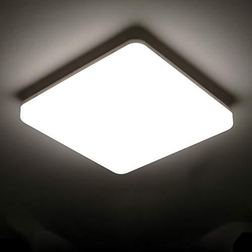 Lámpara de Techo Moderna,Tomshine 24W Plafon LED de Techo 4000k Luz Blanca Natural, IP65 Impermeable, 2000lm Ultra Delgado Luz de Techo Para Baño Cocina Sala de Estar Dormitorio Pasillo Habitacion