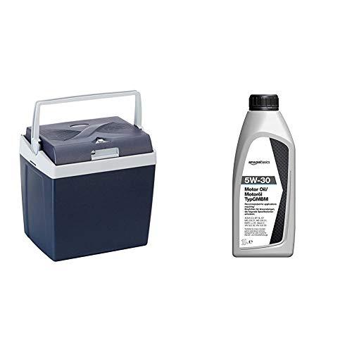 AmazonBasics Thermoelektrische Kühlbox mit Kühl- und Warmhaltefunktion - 26 Liter, 230V / 12V DC & Motoröl 5W-30 Typ GMBM, 1 l