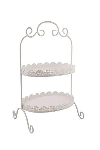 Grafelstein Ovale Etagere Amalia weiß mit Spitzenrand im Vintagestil Metalletagere