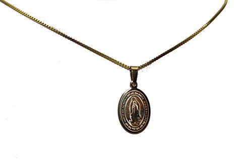 Diamantados of Florida Virgen de Guadalupe Oval Medalla Nuestra Señora de Guadalaupe Medalla Oro Acero Inoxidable con 18Pulgadas Cadena
