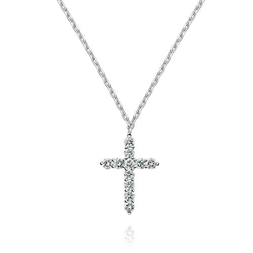 PAVOI 14K White Gold Plated Faith Necklace for Women | Faith Pendant | White Gold Necklaces for Women