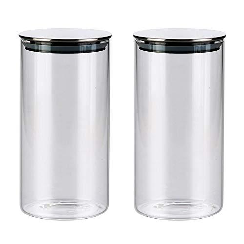 Vorratsgläser aus Borosilikatglas mit Deckel 2er Set, Glas Vorratsdosen Küche Lebensmittel Lagerung Behälter, Spülmaschinenfest, 750ml