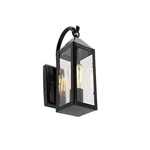 QAZQA Klassisch/Antik/Landhaus/Vintage/Rustikal/Modern Ländliche Außen Wandleuchte schwarz IP44 - Bussum/Außenbeleuchtung Edelstahl/Glas Rechteckig/Länglich LED geeignet E27 Max. 1 x 60 Wa