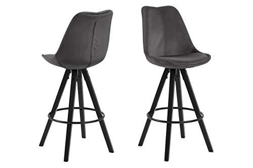Eine Marke von Amazon - Movian Arendsee - Set mit 2 Barhockern, 55 x 48,5 x 111,5 cm, Dunkelgrauer Stoff, schwarz lackierte Beine aus Kautschukholz, Fußstütze aus schwarzem Metall
