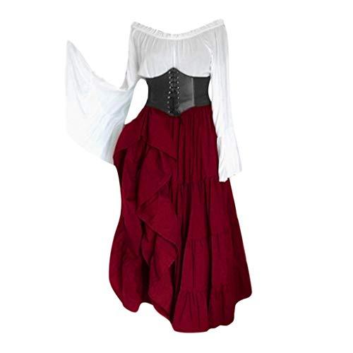 Shinehua middeleeuws kostuum dames middeleeuwse jurk lange mouwen met trompetmouwen Victoriaans koningin kostuum renaissance meditieval prinses jurk volwassenen cosplay carnaval