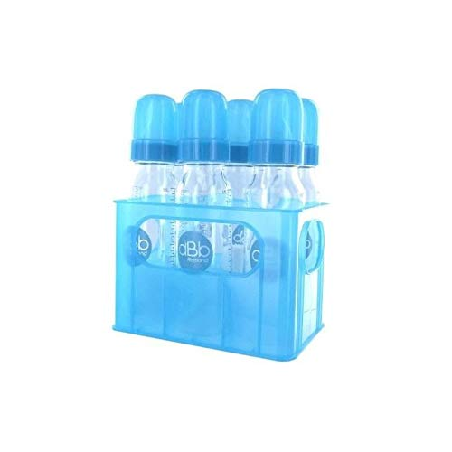 dBb Remond Porte-Biberons + 6 Biberons Verre - Tétine Nn - Silicone - Système Rond - Turquoise Translucide - 240 ml