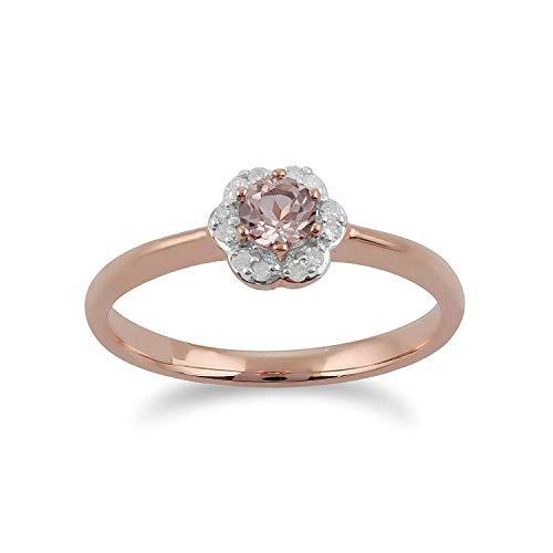 Gemondo Morganit Ring, 9 Karat Rosegold 0,18 CT Morganit & Diamant Blume Ring - Morganit