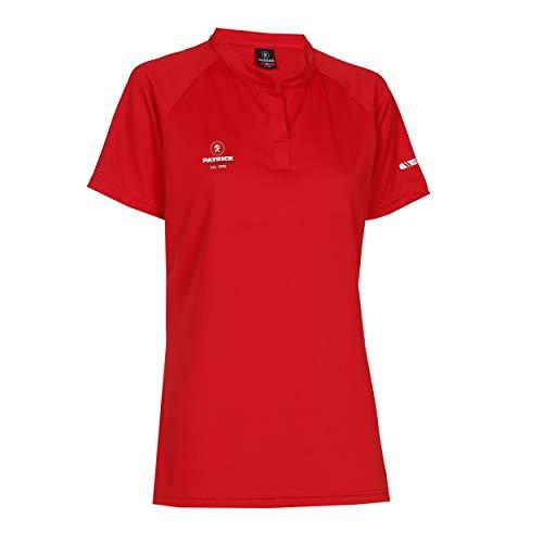Sport Poloshirt Damen Kurzarme V Ausschnitt - tailliert T-Shirt für Frauen, schnelltrocknend, für Tennis, Badminton, Golf, Laufen, Fitness und Feldhockey, Rot M