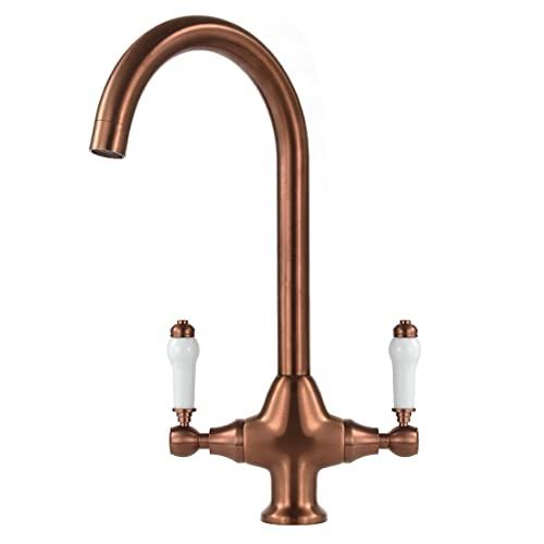 Classic Kitchen Sink Mixer Taps Monobloc Dual Ceramic Lever Swivel Spout Rose Gold