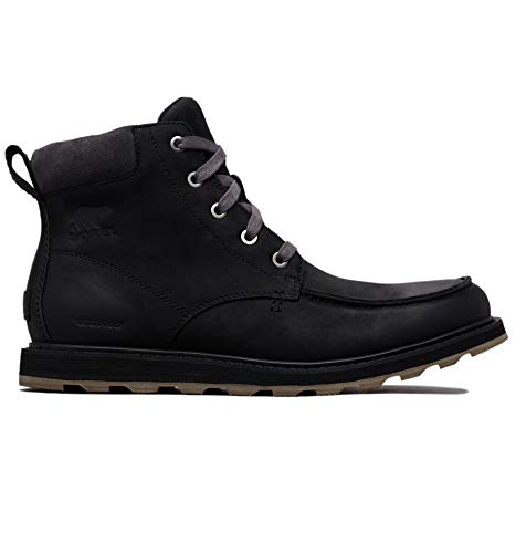 Sorel - Men's Madson Moc Toe Waterproof Boot, All-Weather Footwear for Everyday Wear, Black/Dark Grey, 11 M US