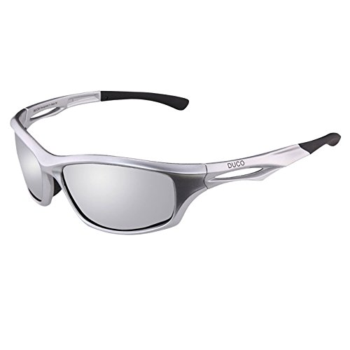 DUCO Polarisierte Sport Sonnenbrille zum Laufen Radfahren Angeln Golf TR90 Unbreakable Rahmen 6199 (Silber)