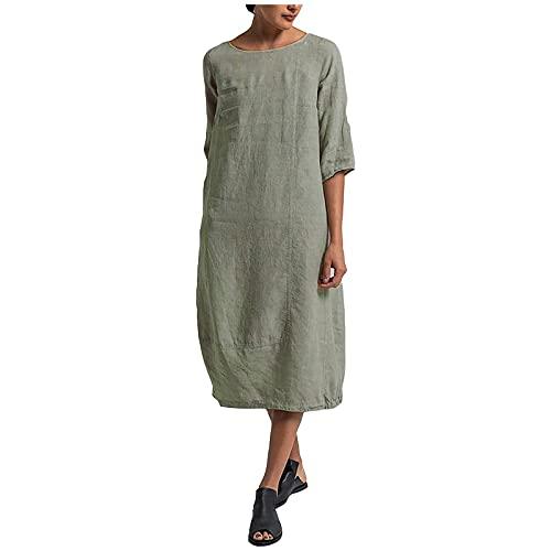 Liably Vestido de verano para mujer de lino, talla grande, informal, vestido maxivestido de verano, elegante, suelto, color sencillo, falda recta, para la playa verde XXL