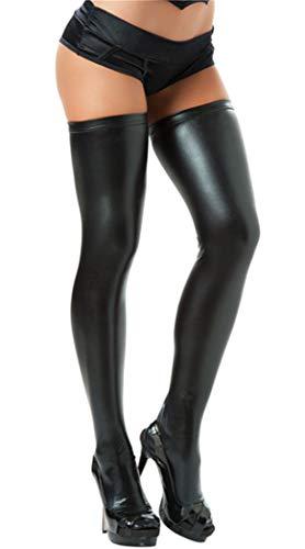 FONDBERYL Sexy Ladies Black Halterlose Overknee Strümpfe mit Spitze in Wetlook Optik Kniestrümpfe