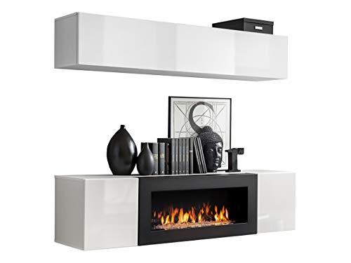 Moderne Wohnwand mit Kamin Bioethanol Flyer N1, Elegante Anbauwand mit Kamineinsatz, Schrankwand, Wohnzimmer-Set, TV-Lowboard, Vitrine (Weiß/Weiß Hochglanz)