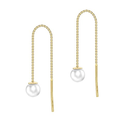 Carissima Gold 9ct Yellow Gold Fresh Water Pearl and Box Chain Pull Through Earrings