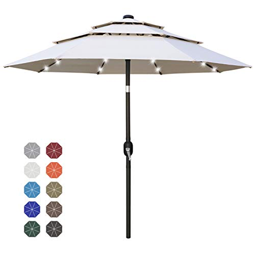 ABCCANOPY 11FT Solar 3 Tiers Market Umbrella Patio Umbrella Outdoor Table Umbrella with 32 LED Ventilation and Push Button Tilt for Garden, Deck, Backyard and Pool,8 Ribs Beige