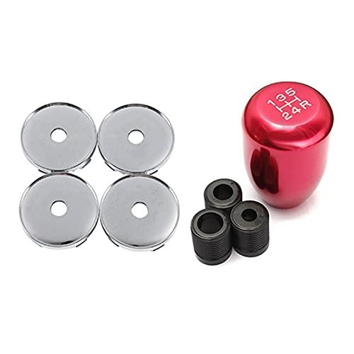 LIUWEI 5 PCS Accesorios para automóviles: 4 PCS Wheel Center Hub Cap de tapón de 60 mm Tenedor de neumáticos y 1 PCS 5 Mando de Cambio de Velocidad Mando Manual de Cambios de Palo de Engranajes