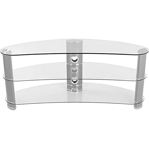 """AVF FS1200CURCS-A Jellybean TV Stand with Clear Tempered Glass Shelves and Silver Aluminum Legs. Fits Most TV from 32"""", 37"""", 39"""", 40"""", 42"""", 46"""", 47"""", 50"""", 55"""", 60""""."""