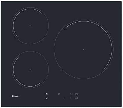 Candy CI633C/4U, Placa inducción, 60cm ancho, 3 zonas de cocción, Temporizador, 9 niveles de potencia, Booster, Negro