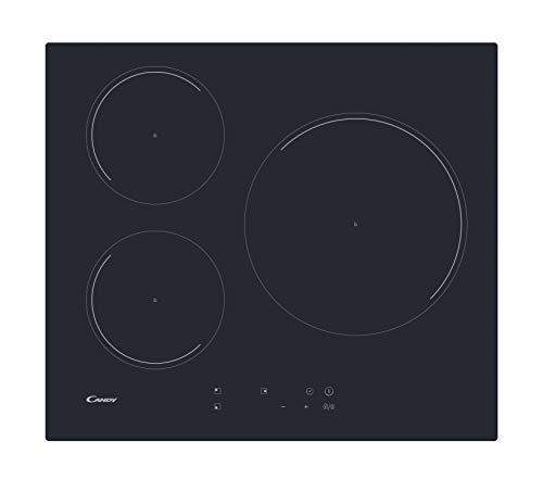 Candy CI633C/4U Plaque à induction, 60 cm de large, 3 zones de cuisson, minuteur, 9 niveaux de puissance, Booster, Noir