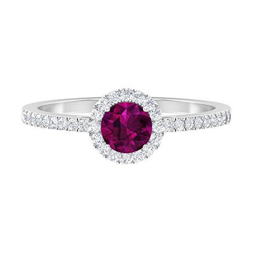 Anillo de halo solitario, anillo de 5 mm de rodolita, anillo de compromiso de diamantes HI-SI, anillo de piedra lateral, 14K White Gold, Rhodolite, Size:US 63