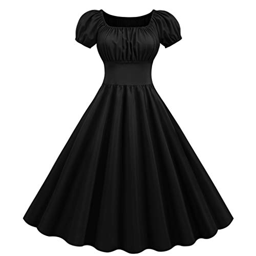 Spring Color Womens Retro Fluffy Short Sleeve Crew Neck Solid Swing Flare A-Line Cocktail Hepburn 1950S Midi Dress Black
