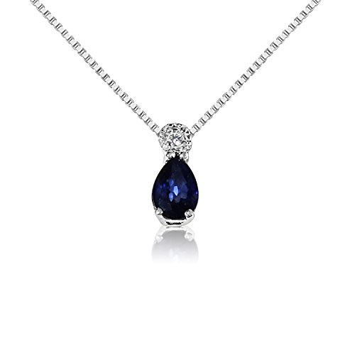 MILLE AMORI ∞ Collar Mujer Pendiente Oro y Diamantes - Oro Blanco 9 Kt 375 ∞ Diamantes 0.02 Kt - Zafiro Azul 0,5 Kt