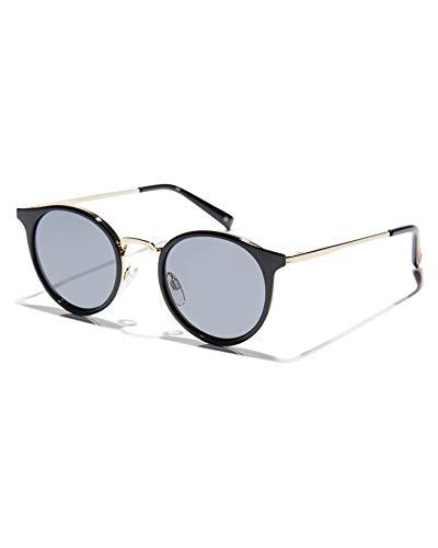 Le Specs Tornado Black Smoke Mono - Sonnebrille Damen und Herren - Gestell Schwarz Glas Grau Polarisiert - Retro Form Rund - 1902119